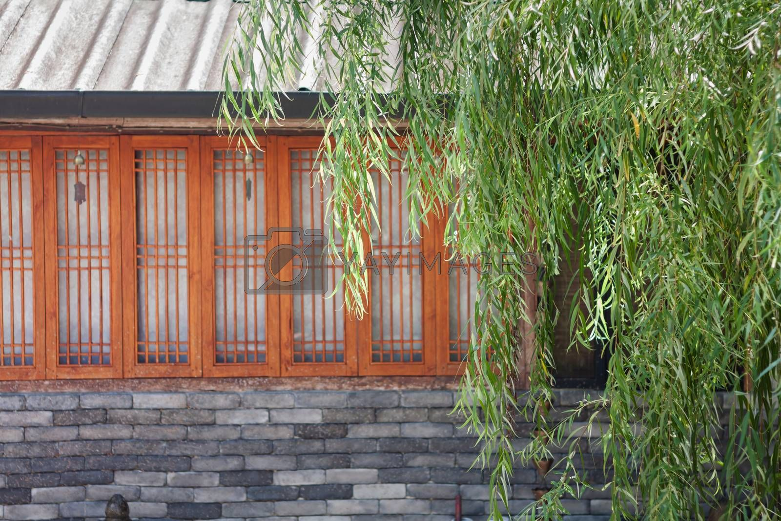 Chinese house style in garden, stock photo