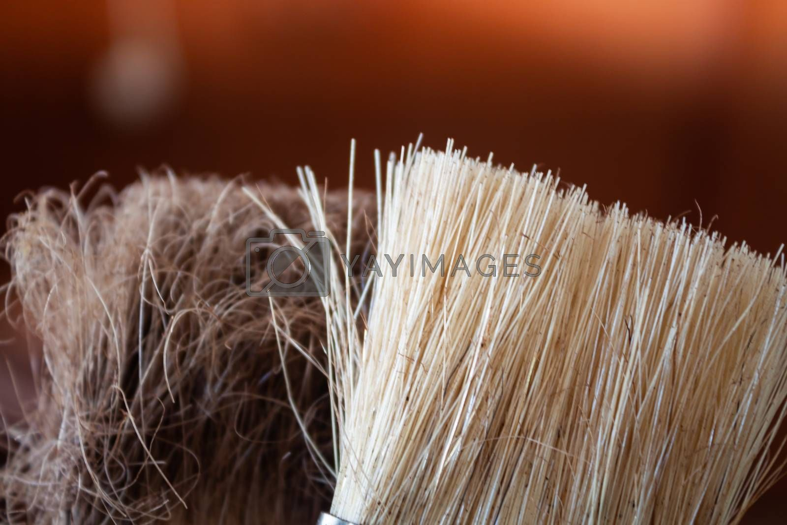 Close up brush using for clean coffee grinder, stock photo