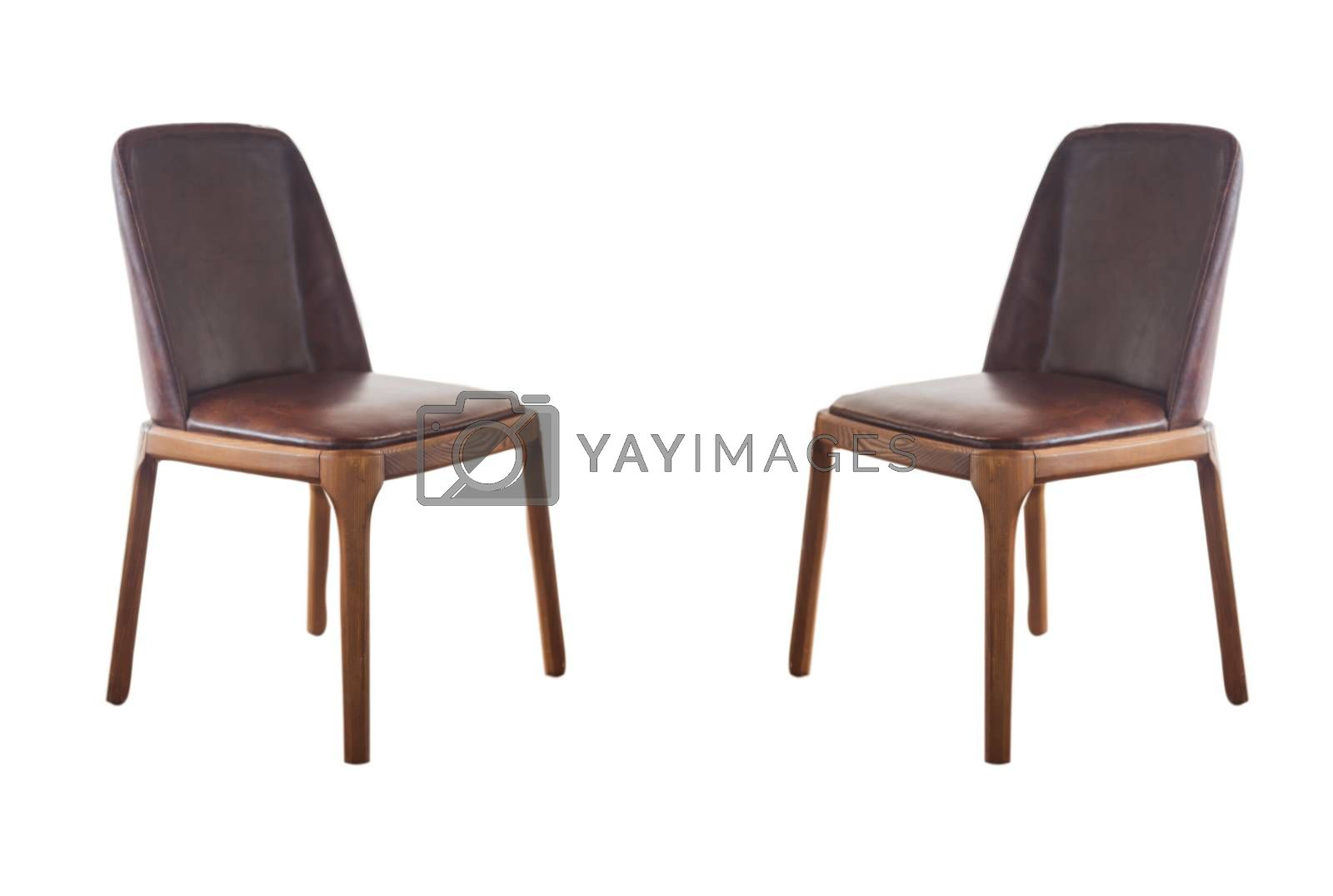 Brown classic chair isolated on white background with clipping path