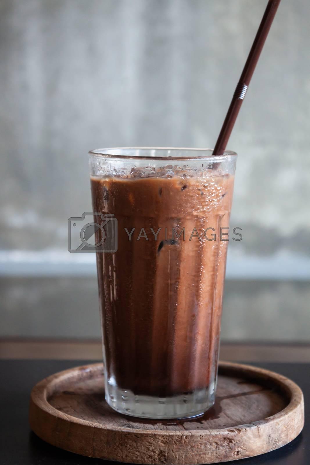 Iced coffee in coffee shop, stock photo