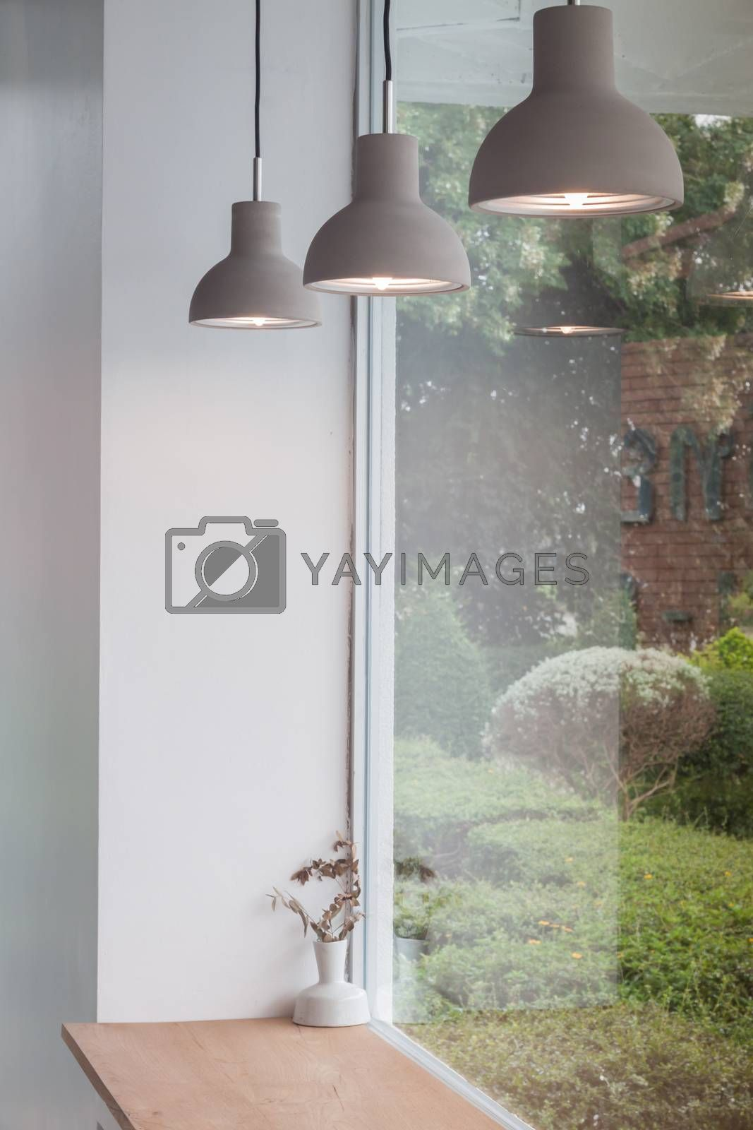 Beautiful retro light lamp decorated glowing, stock photo