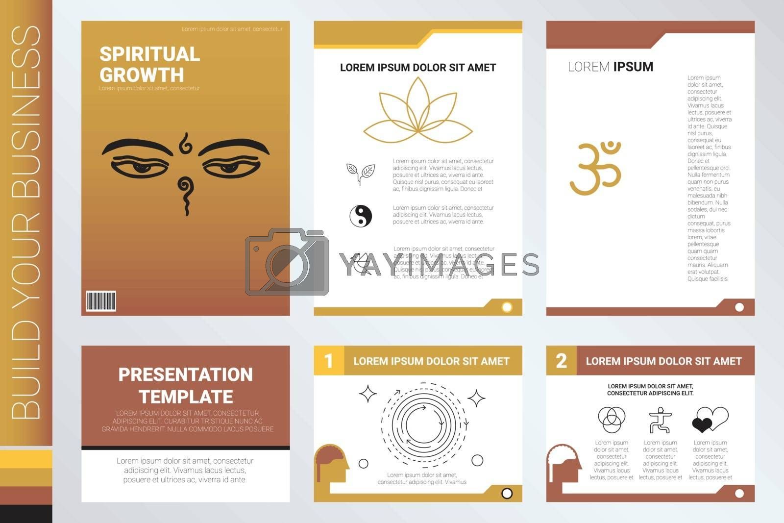 Book cover and presentation template with flat design elements, ideal for company information or infographic annual report
