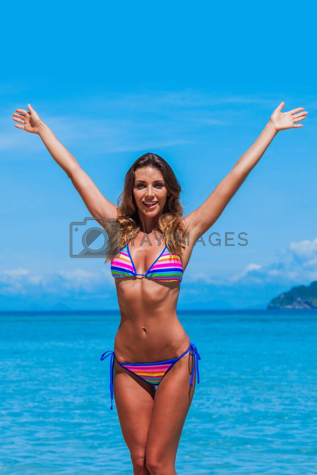 Beach summer holidays woman by Yellowj