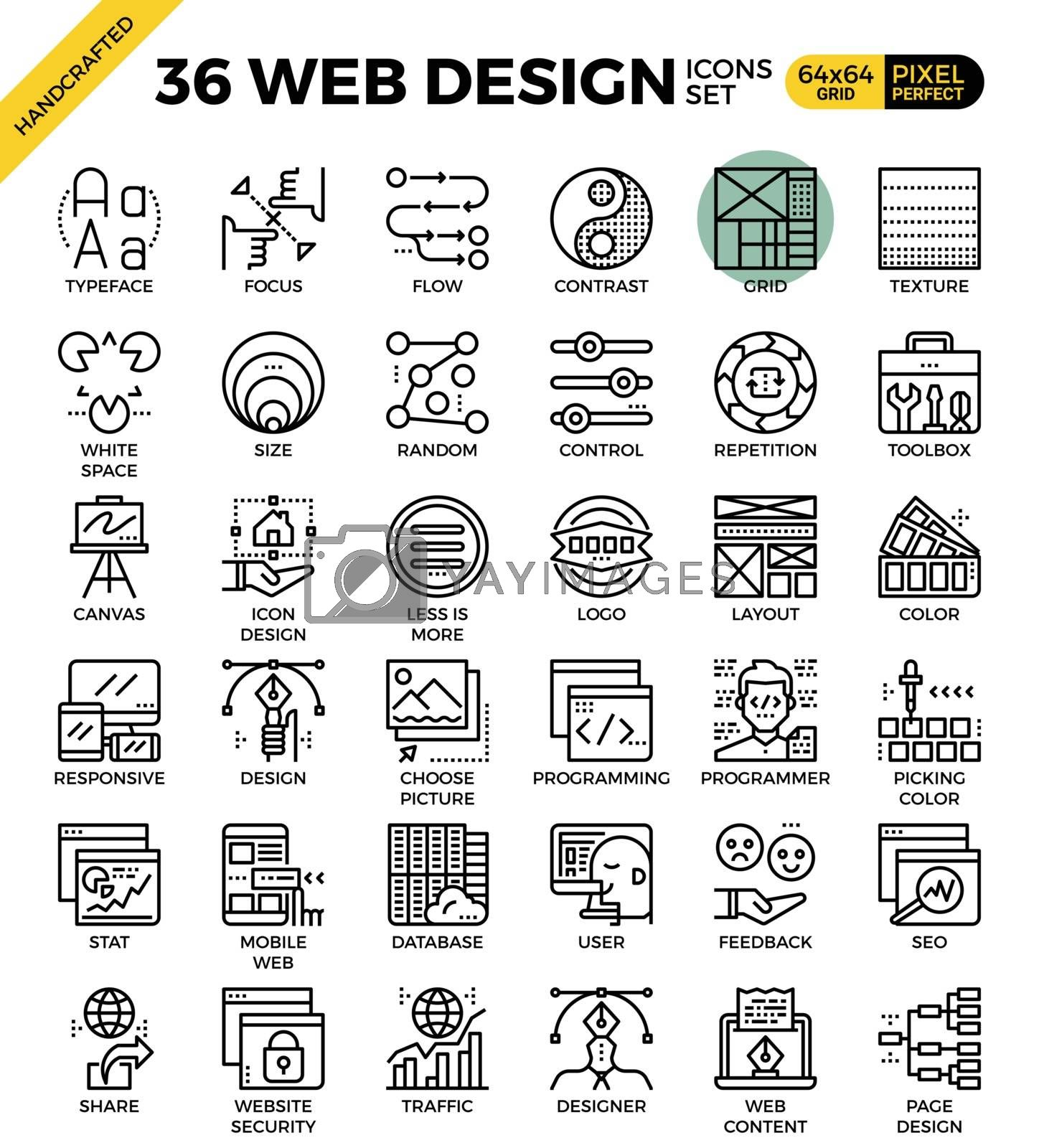 Web design outline icons concept in modern style for website or print illustration
