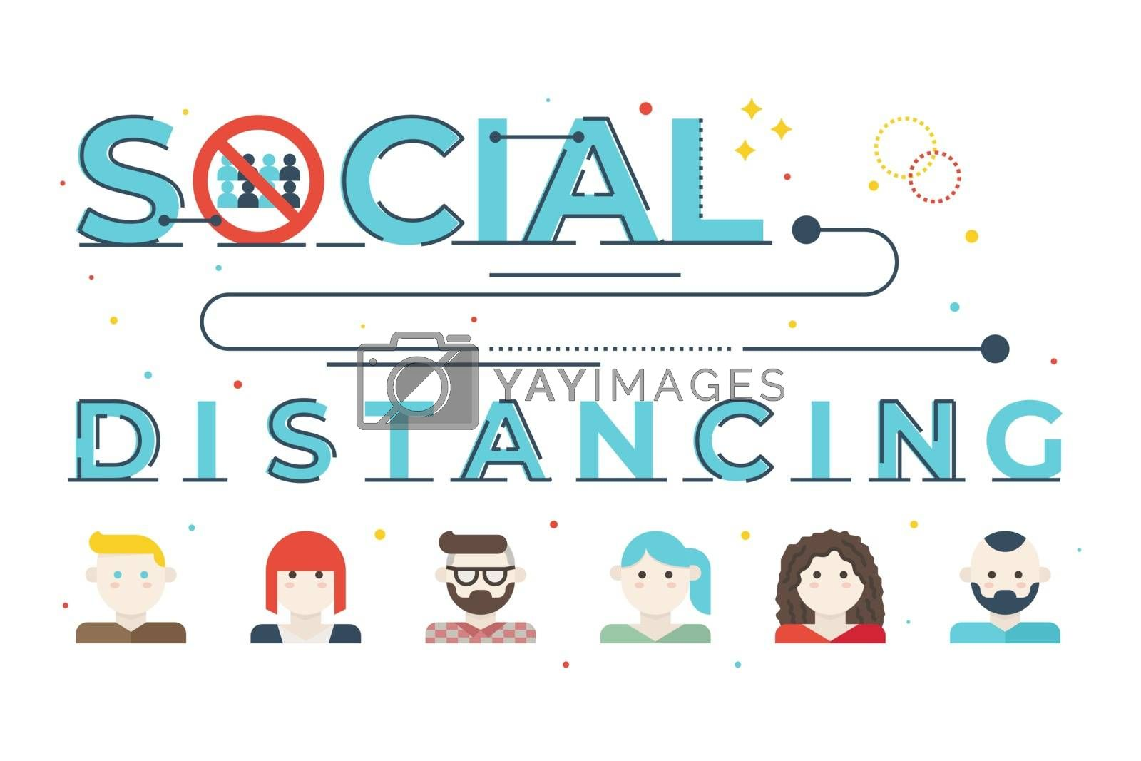 Social distancing word lettering illustration by nongpimmy