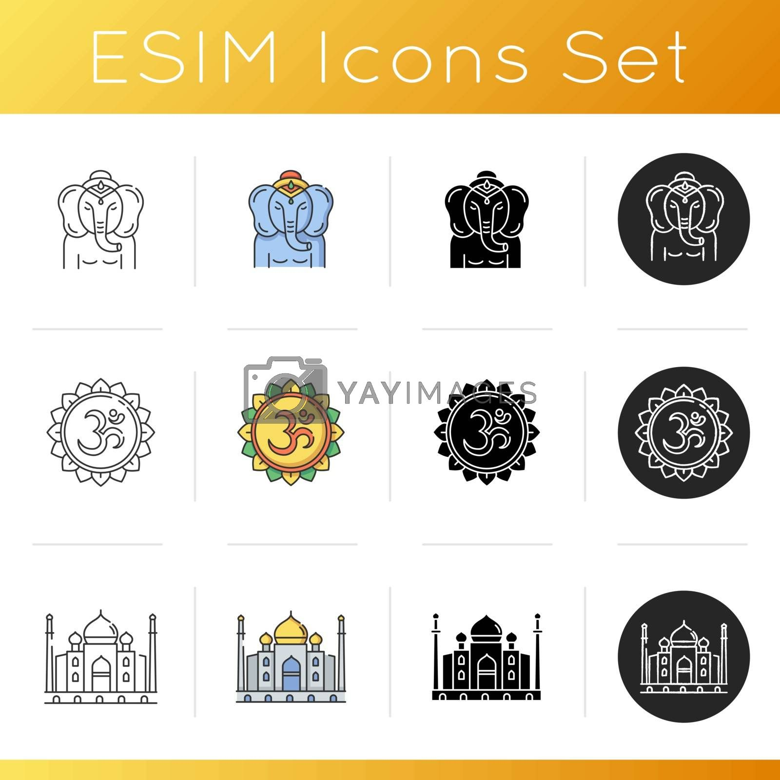 Indian culture icons set. Lord Ganesha. Religious symbol. God of beginnings. Om visual representation. Sacred syllable. Taj Mahal. Linear, black and RGB color styles. Isolated vector illustrations