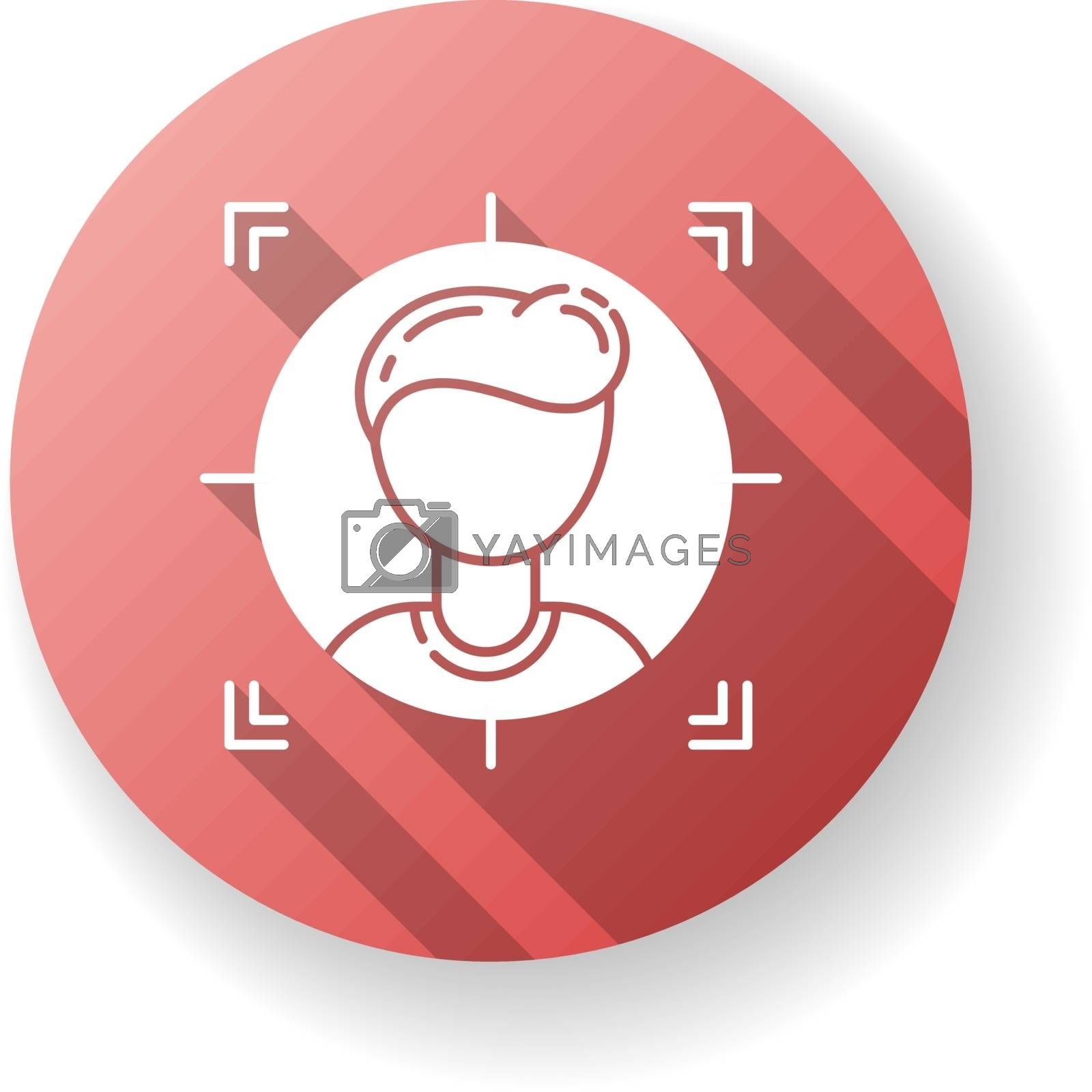 Target audience red flat design long shadow glyph icon. Analyzing client. Career in company. Search for corporate employee. Lead generation. Hire for position. Silhouette RGB color illustration