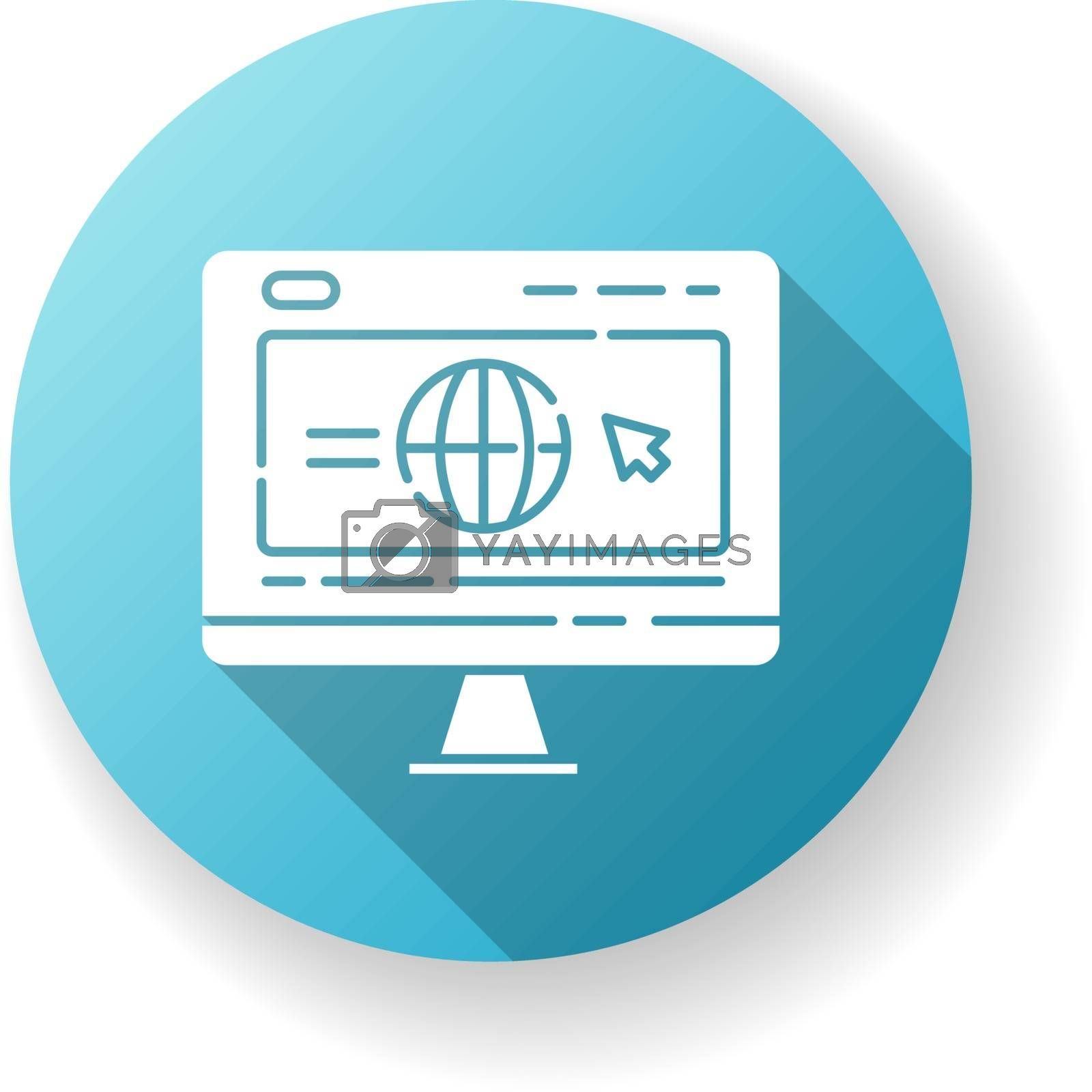Corporate website blue flat design long shadow glyph icon. Browse company webpage. Social media strategy. Bloggin and seo. Site optimization and promotion service. Silhouette RGB color illustration
