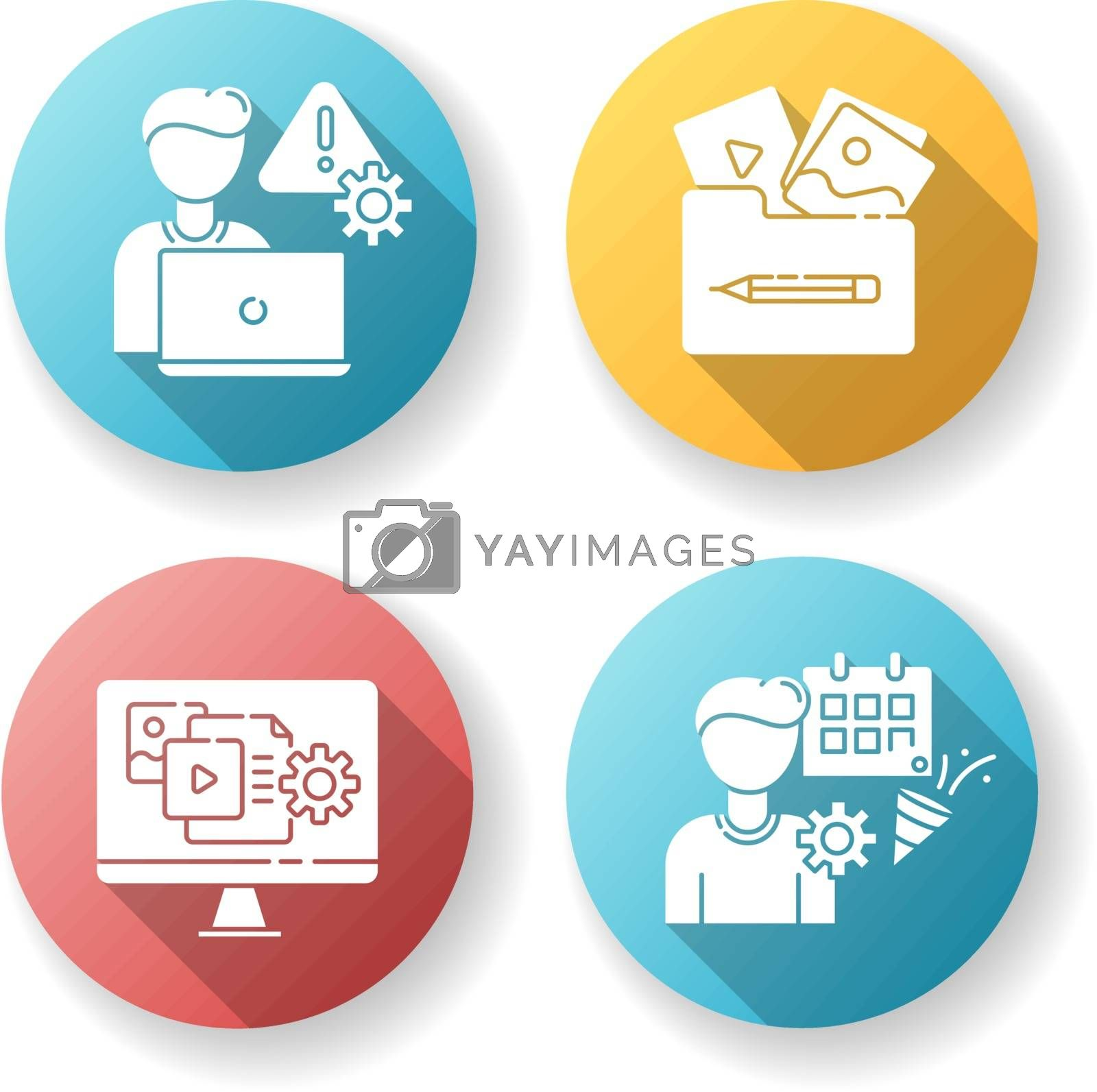Management flat design long shadow glyph icons set. Crisis management. Visual portfolio. Content manager. Event planner. Party organization. Threat analysis. Silhouette RGB color illustration