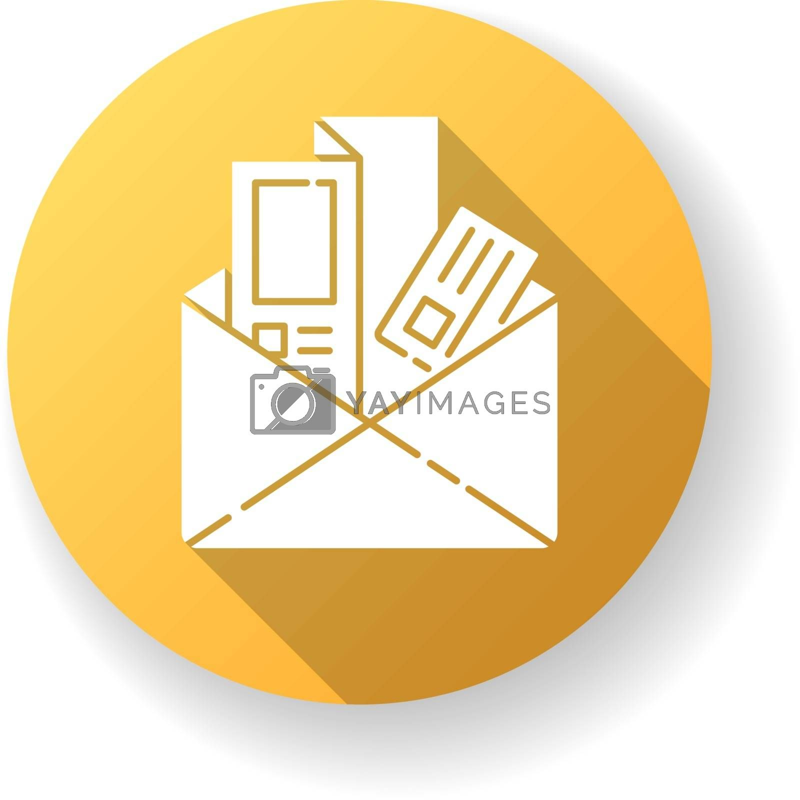 Newsletters and brochures yellow flat design long shadow glyph icon. Document pages in folder. Advertisement in printed article. Subscription mail in inbox. Silhouette RGB color illustration