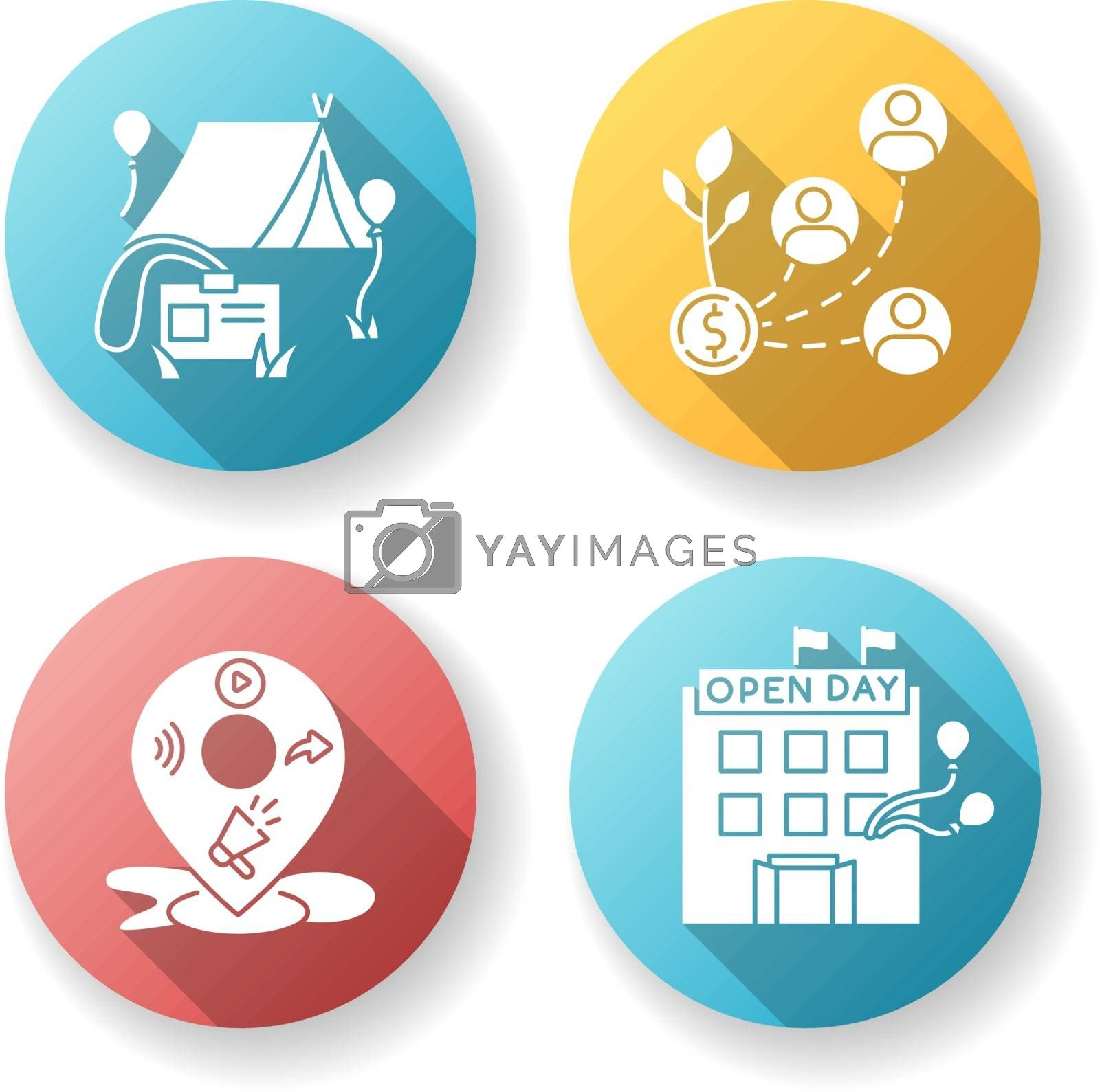 Event organization flat design long shadow glyph icons set. Special event for corporate employees. Stakeholder invest in organization. Open house day. Silhouette RGB color illustration