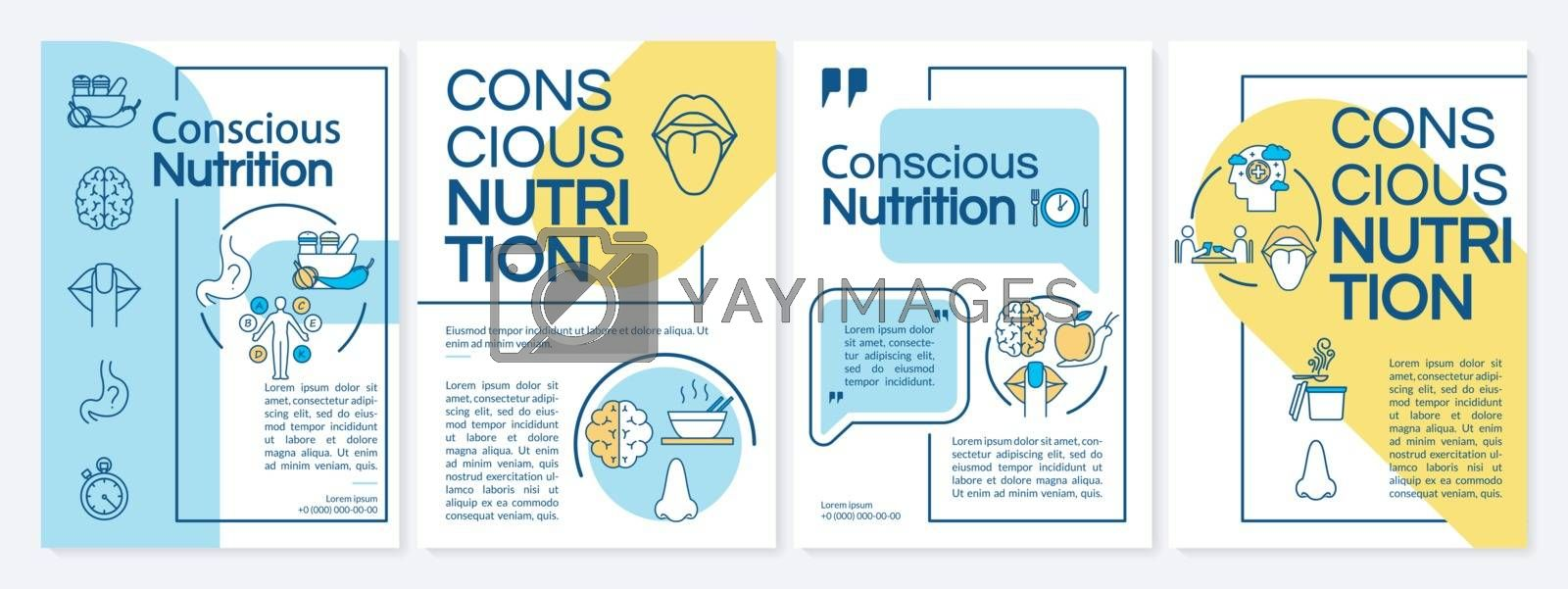 Conscious nutrition, healthy eating brochure template. Mindfulness. Flyer, booklet, leaflet print, cover design with linear icons. Vector layouts for magazines, annual reports, advertising posters