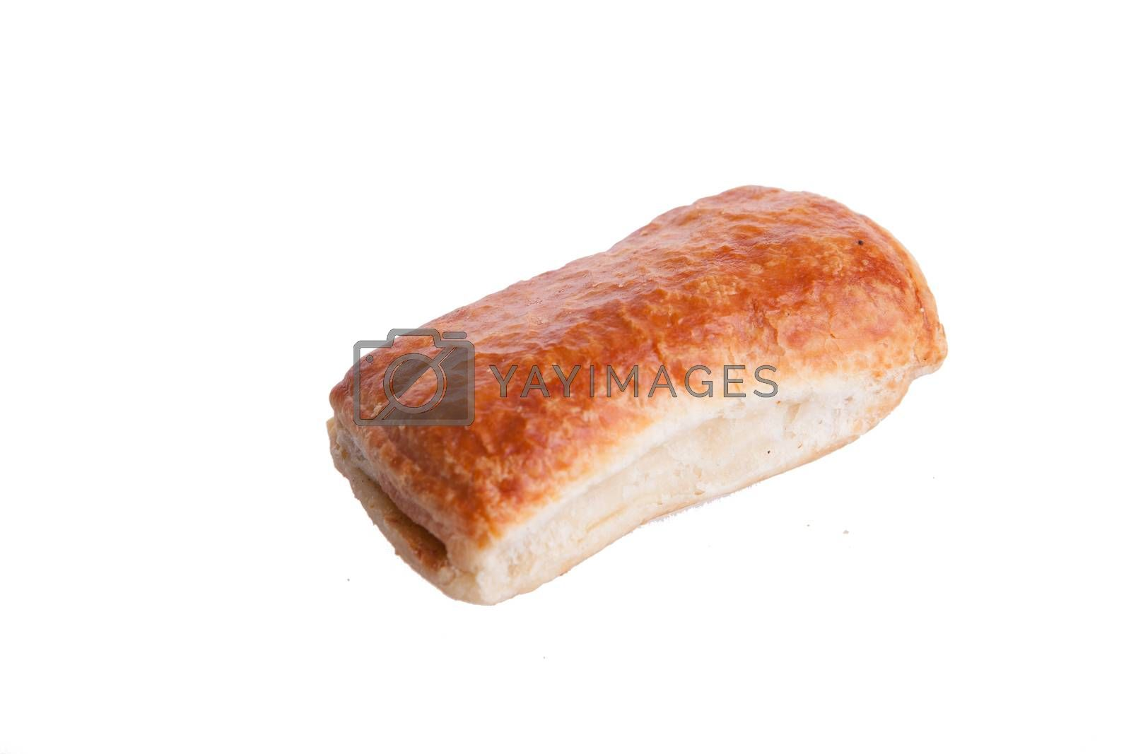 Puff and tasty pastry isolated on white background. Delicious snack