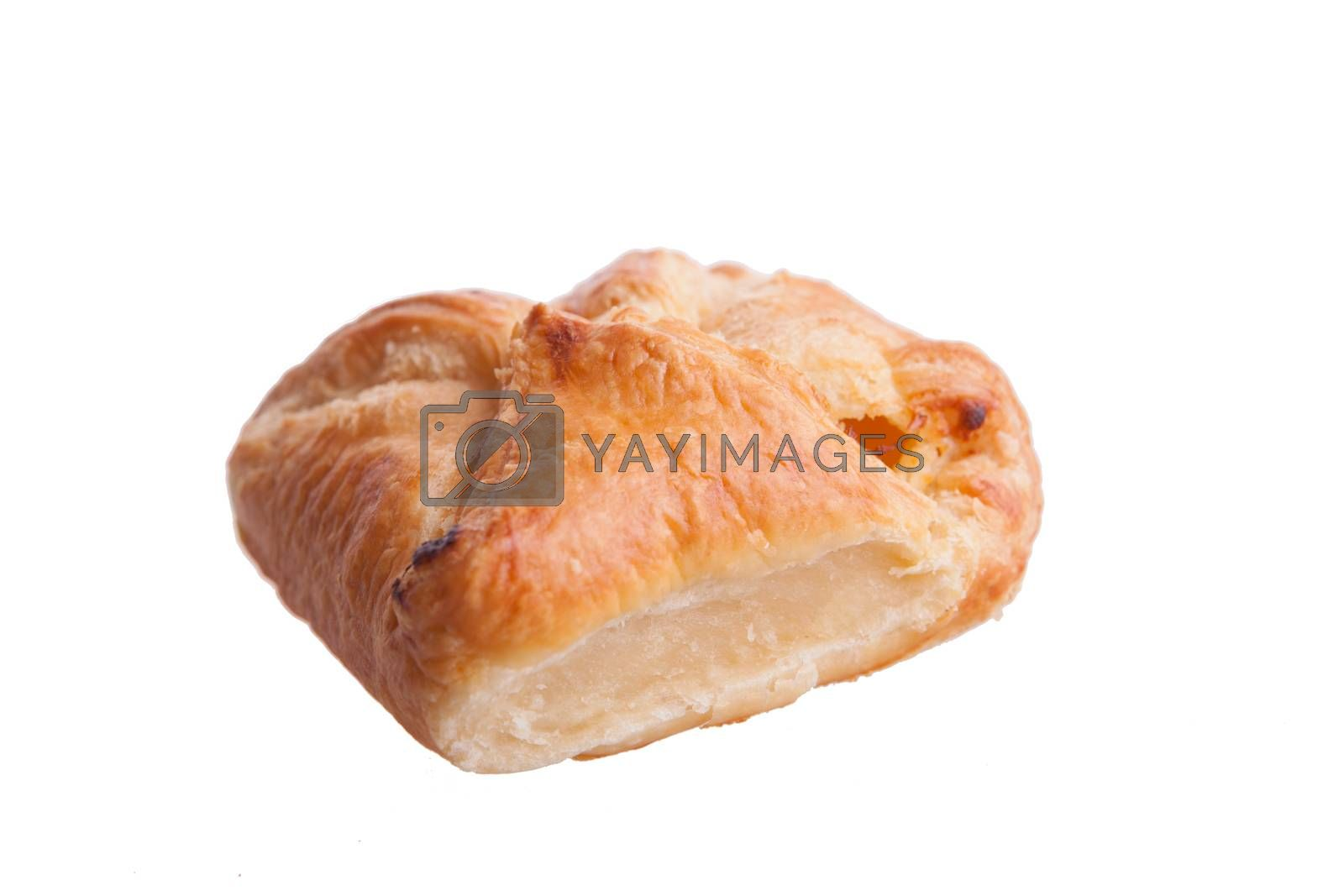 Stuffed chees pie isolated on white background. Delicious pie.