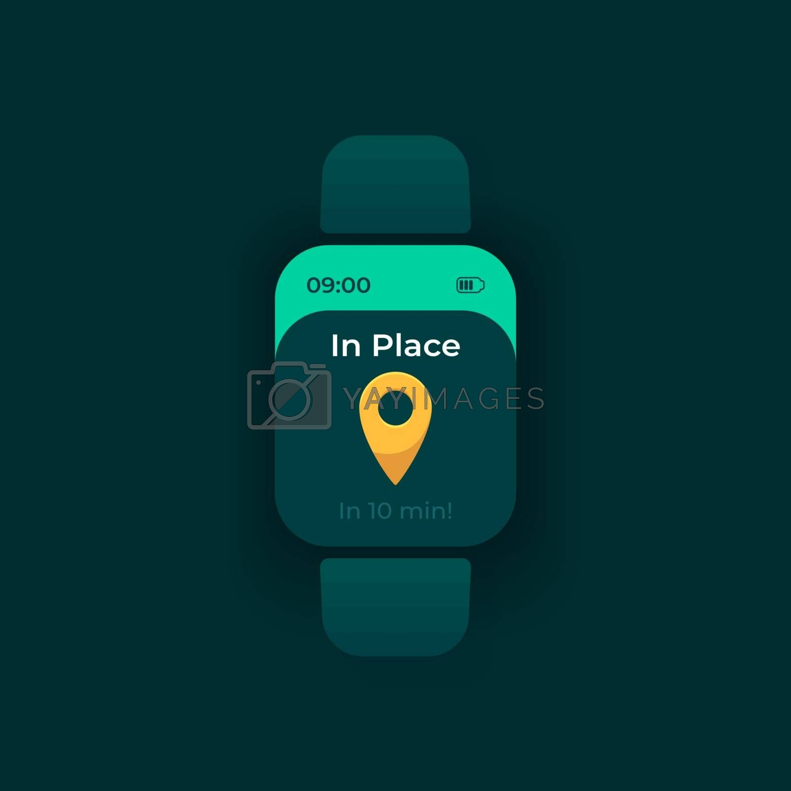 Arrival notice smartwatch interface vector template by bsd