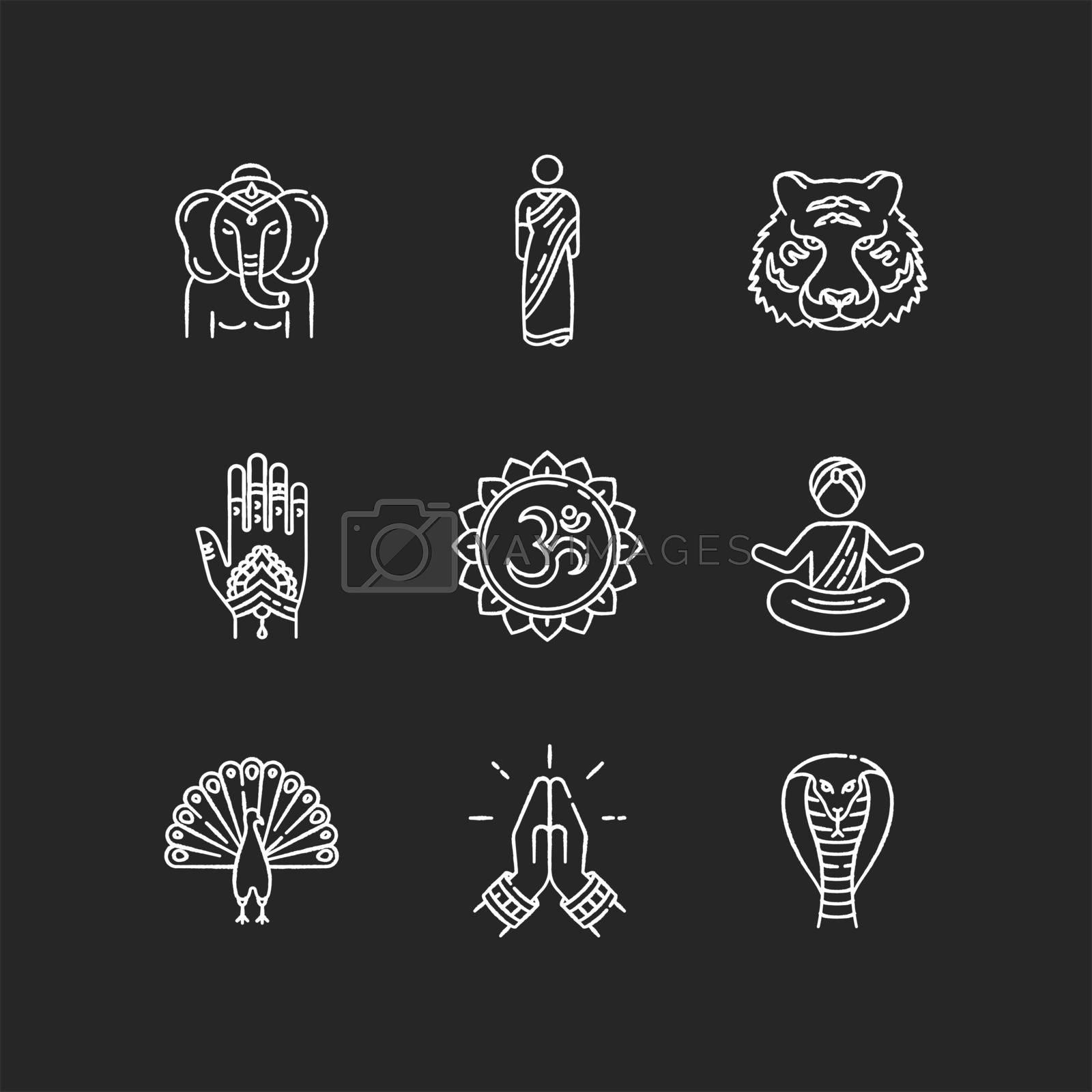Indian spiritual symbols chalk white icons set on black background. Om sound representation. Yoga practitioner. Namaste gesture. Ganesha. Henna body art. Traditional sari.Isolated vector chalkboard