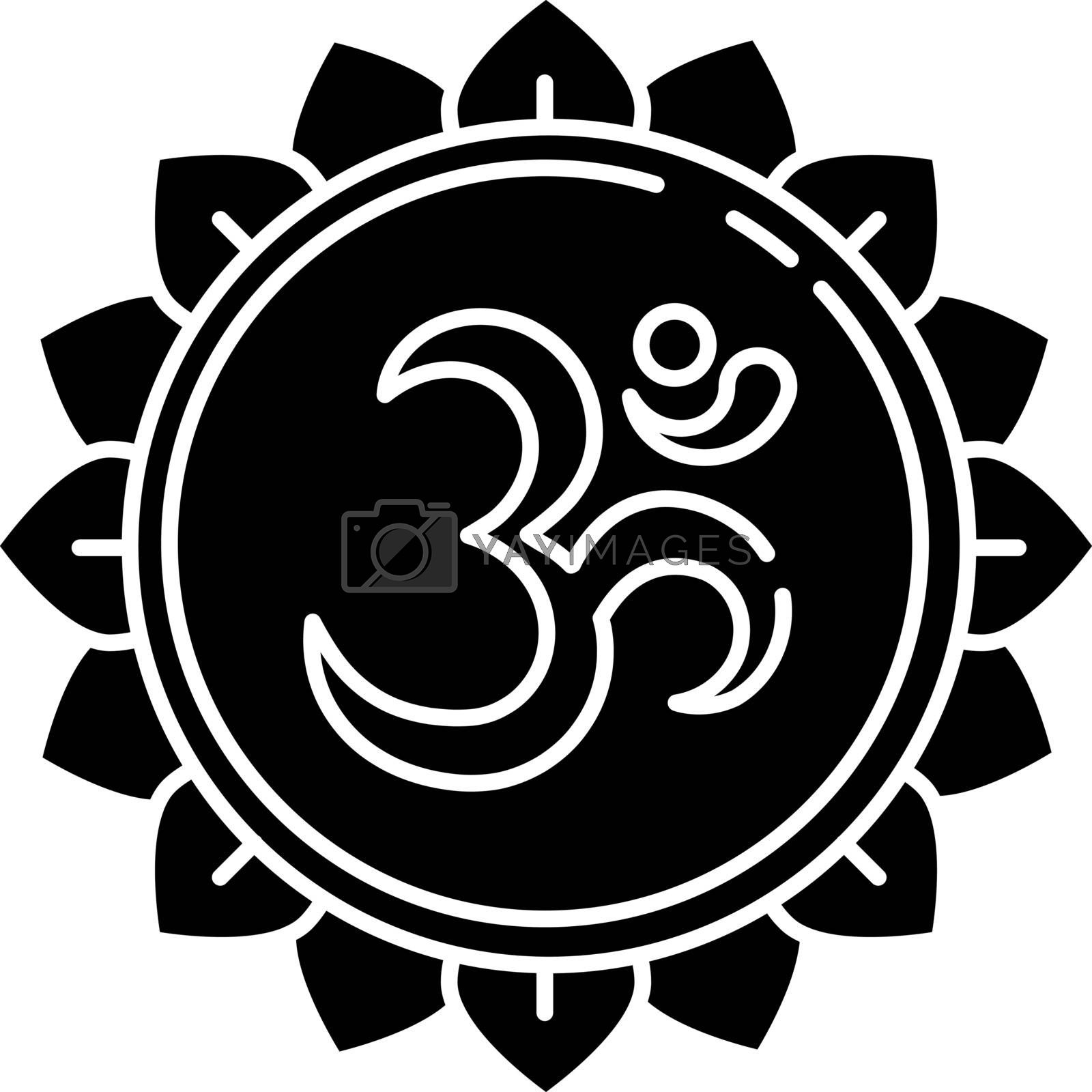 Om black glyph icon. Aum visual representation. Sacred syllable. Sound of universe. Spiritual symbol in Hinduism. Divine energy. Silhouette symbol on white space. Vector isolated illustration