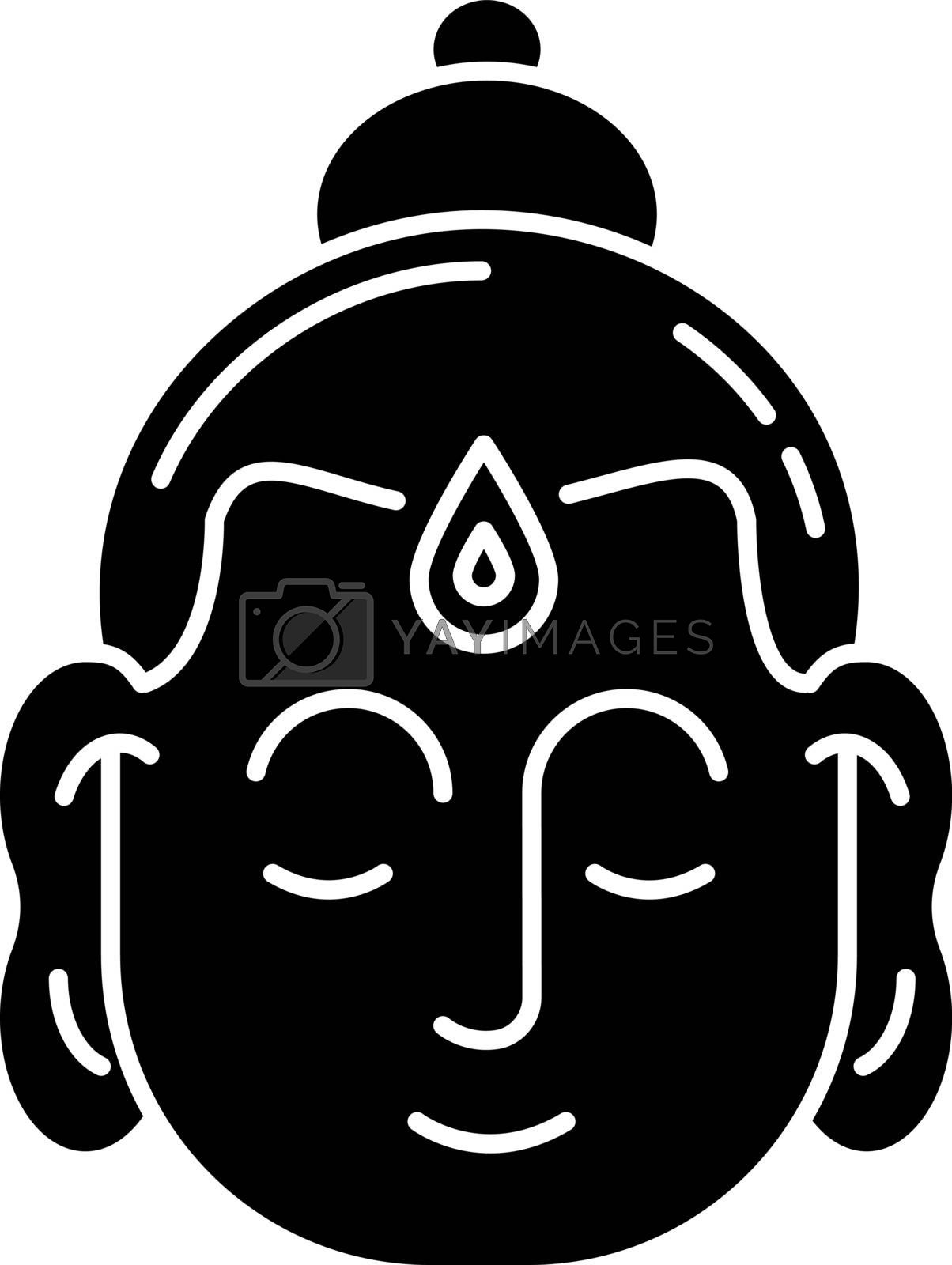 Gautama Buddha black glyph icon. Indian philosopher. Religious leader of Ancient India. Founder of Buddhism religion. Meditator. Silhouette symbol on white space. Vector isolated illustration