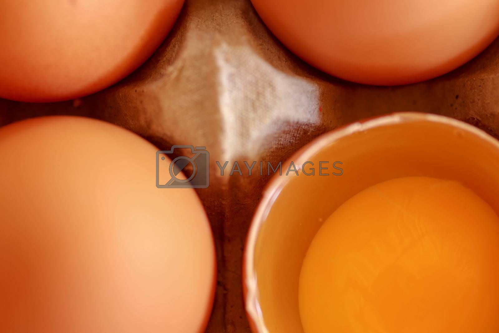 tray of raw eggs on background. Top view.