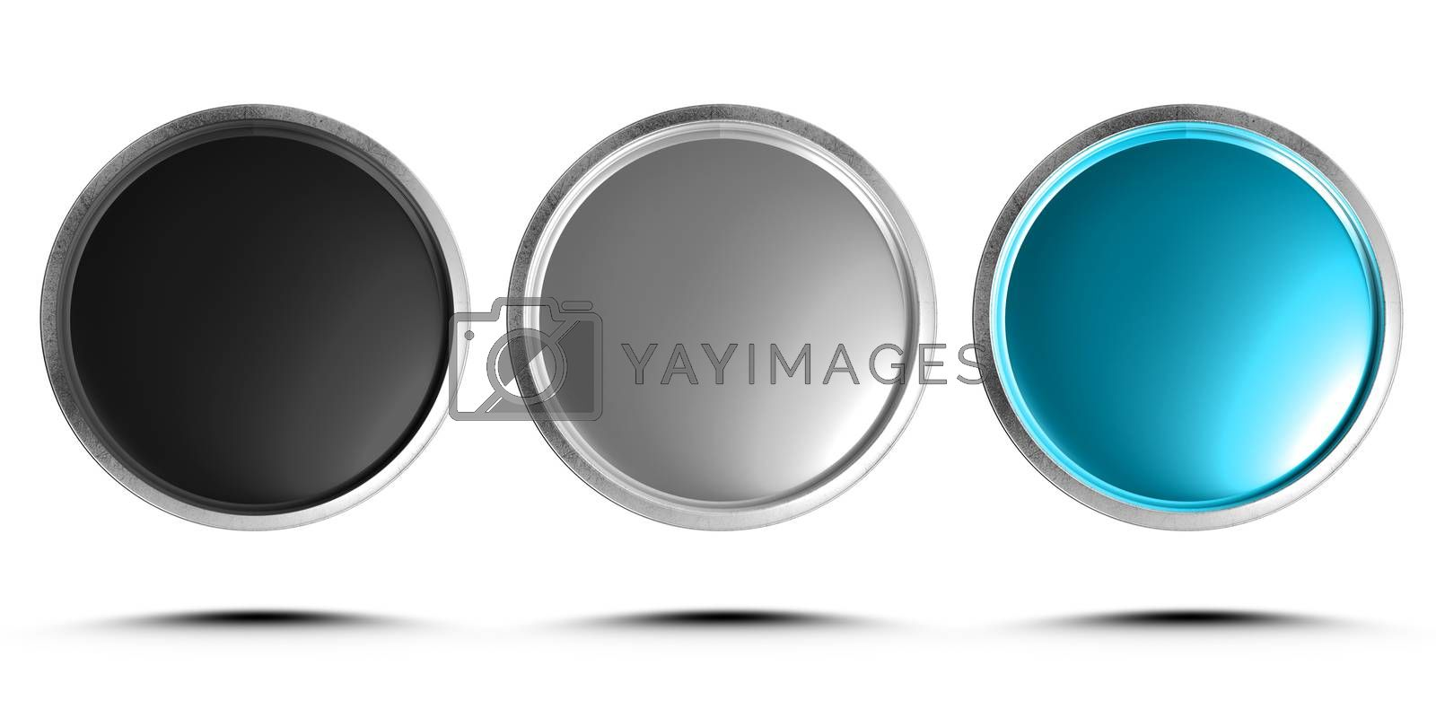 3d illustration push button black, gray, blue isolated on a white background.(with Clipping Path).