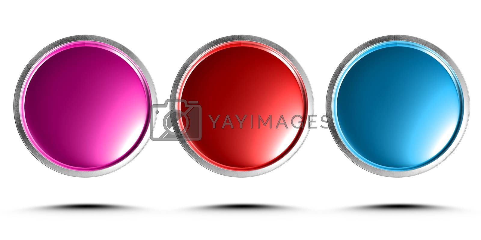 3d illustration push button pink, red, blue isolated on a white background.(with Clipping Path).