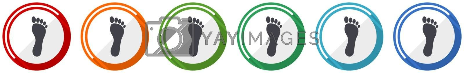 Foot icon set, flat design vector illustration in 6 colors options for webdesign and mobile applications