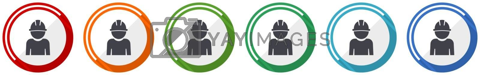 Engineer icon set, worker, manager, employe flat design vector illustration in 6 colors options for webdesign and mobile applications