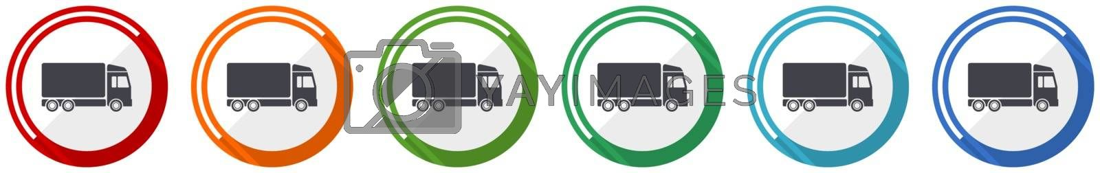 Delivery icon set, flat design vector illustration in 6 colors options for webdesign and mobile applications