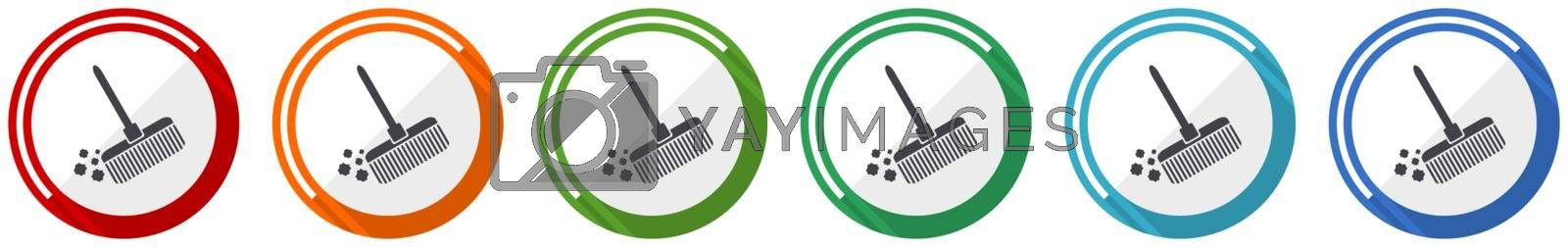 Broom icon set, flat design vector illustration in 6 colors options for webdesign and mobile applications
