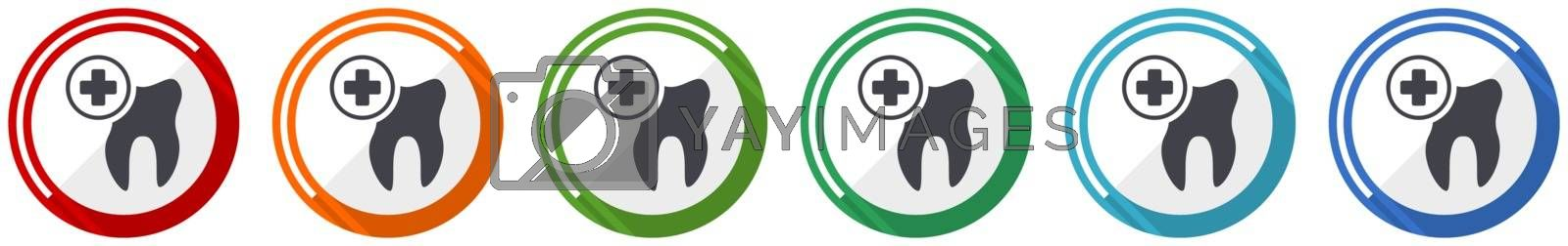 Dentist icon set, dental, tooth flat design vector illustration in 6 colors options for webdesign and mobile applications