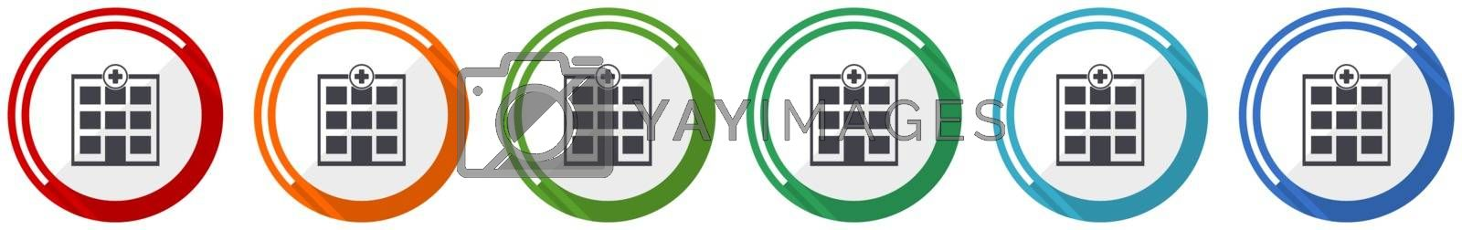 Hospital building icon set, flat design vector illustration in 6 colors options for webdesign and mobile applications