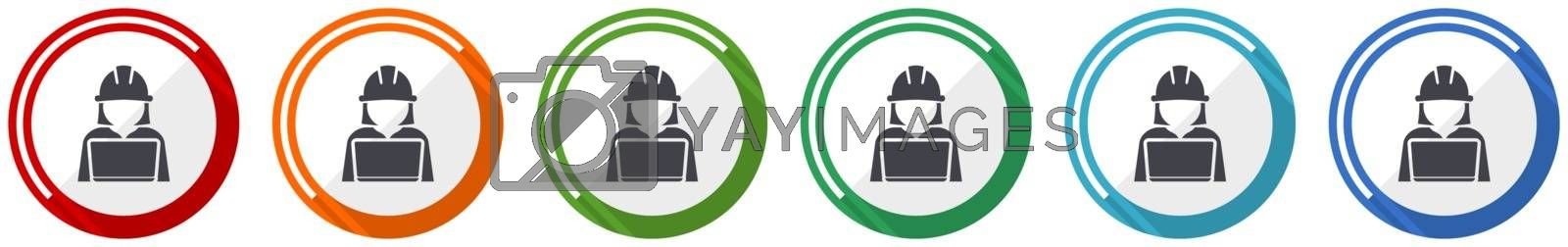 Engineer with laptop icon set, worker, manager flat design vector illustration in 6 colors options for webdesign and mobile applications