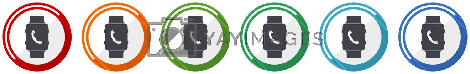 Smartwatch icon set, phone call flat design vector illustration in 6 colors options for webdesign and mobile applications
