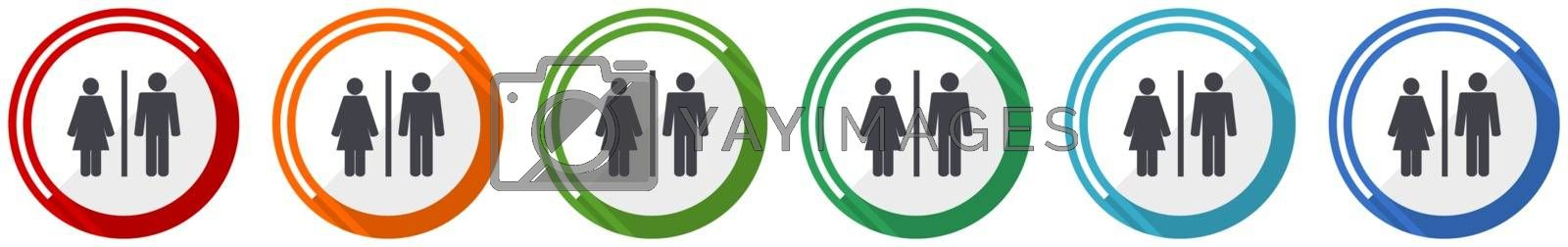 Man and Woman icon set, flat design vector illustration in 6 colors options for webdesign and mobile applications