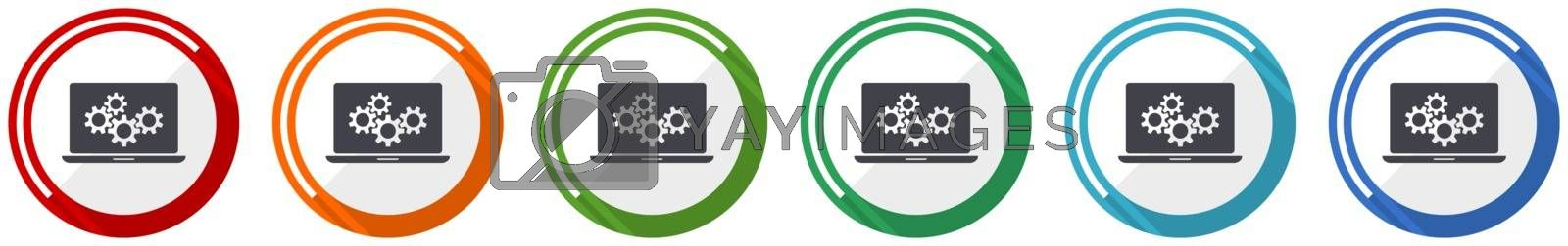 Laptop icon set, notebook, computer flat design vector illustration in 6 colors options for webdesign and mobile applications