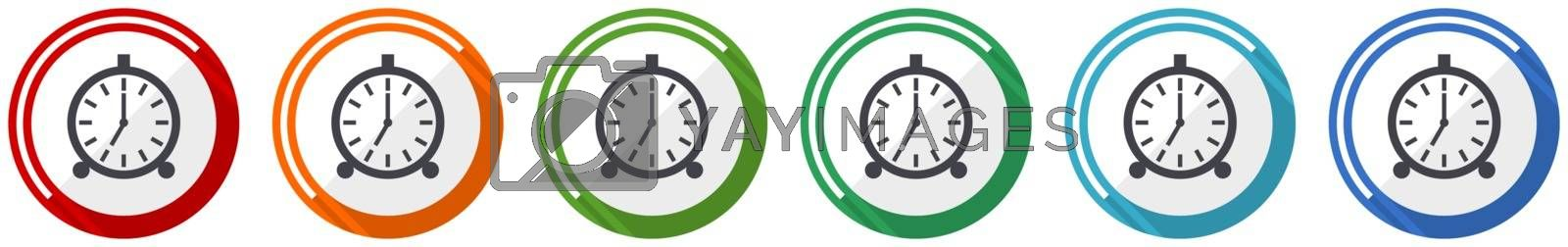 Alarm icon set, flat design vector illustration in 6 colors options for webdesign and mobile applications