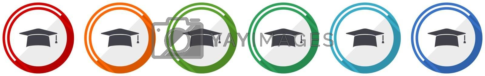 Graduation icon set, cap, education flat design vector illustration in 6 colors options for webdesign and mobile applications