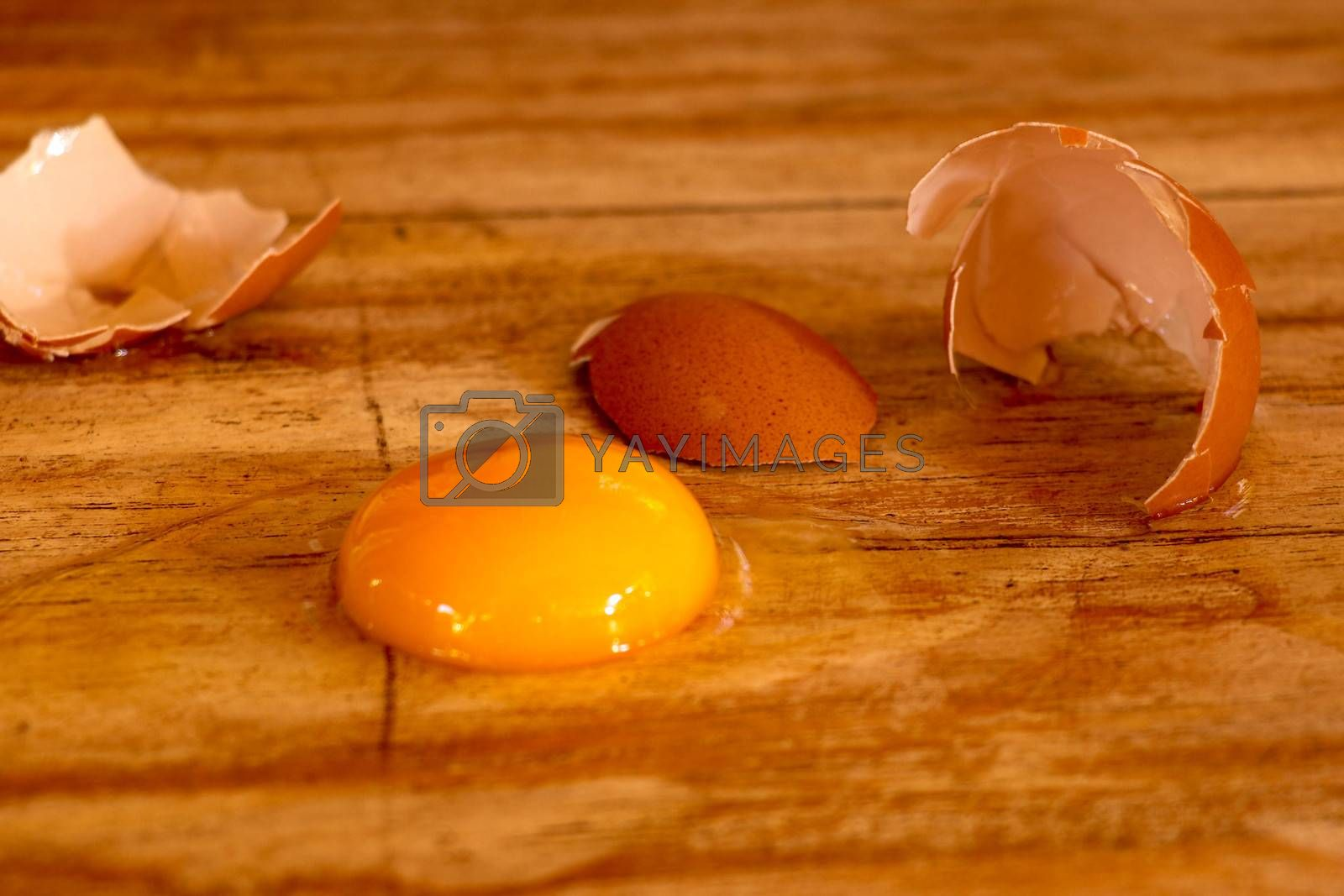 Raw broken colour egg with yellow yolk.Chicken raw, farm eggs on old wooden table.