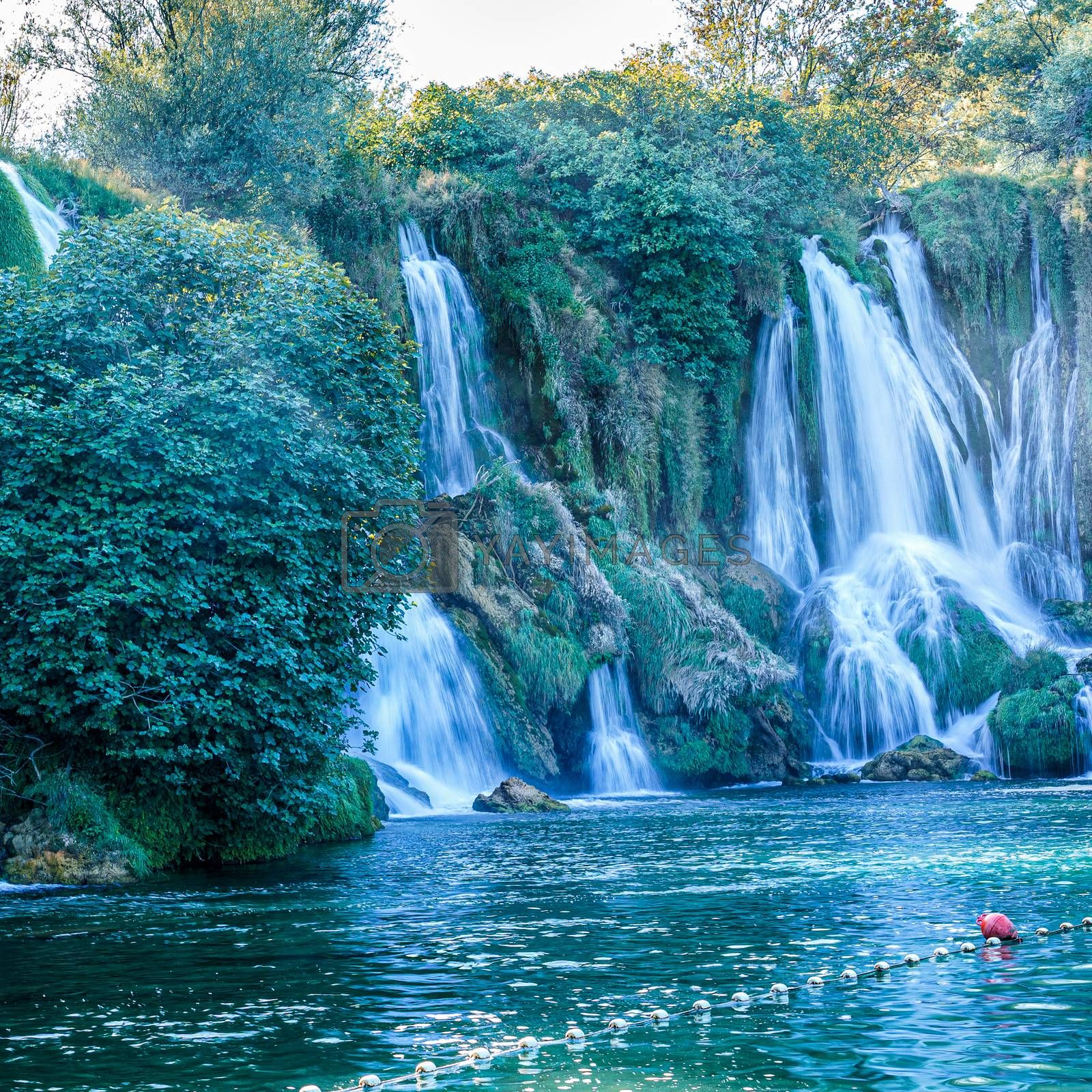 Kravice waterfall in Bosnia and Herzegovina, jets of water falling from a height of twenty-five meters  by VADIM