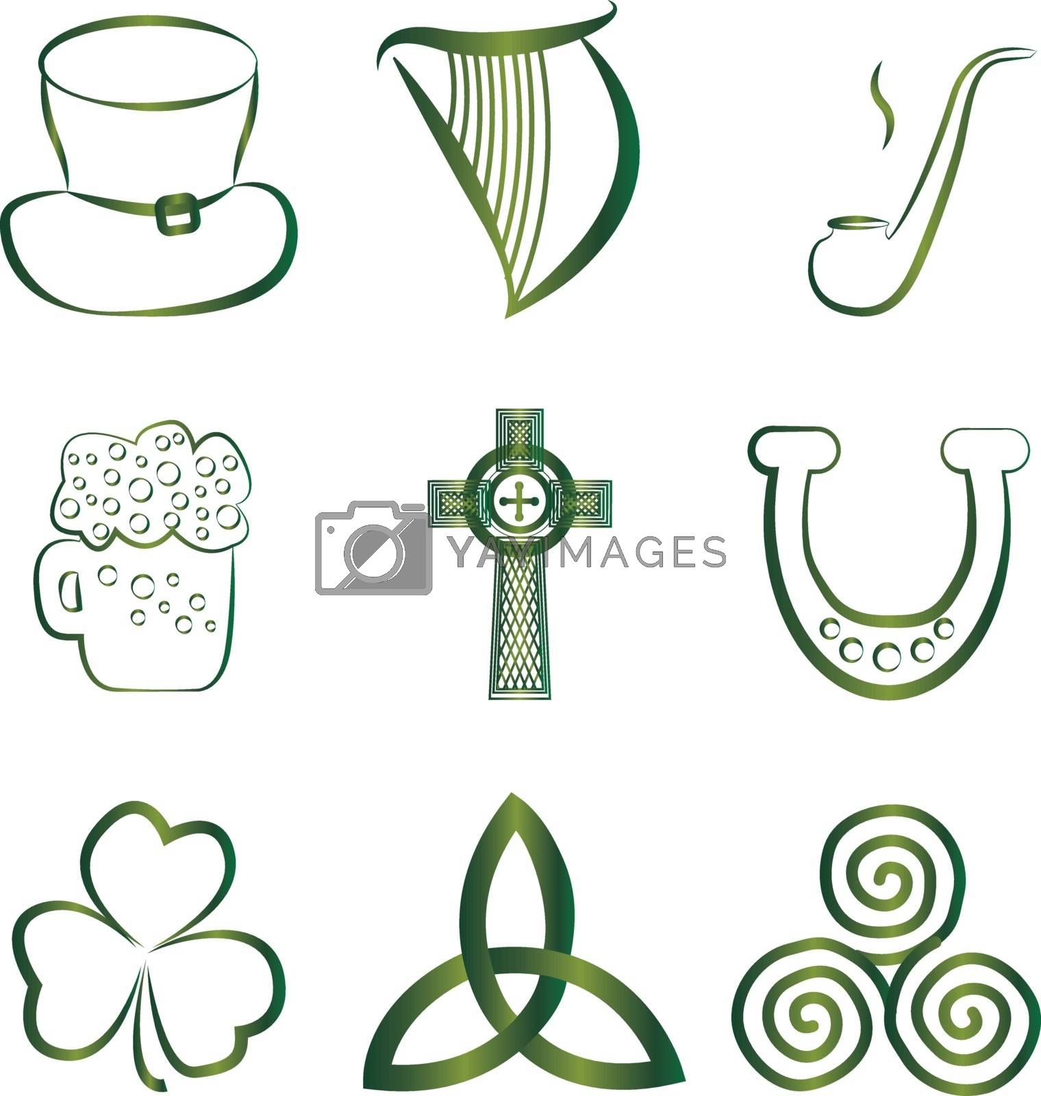 Set of Irish stickers outline vector illustration isolated
