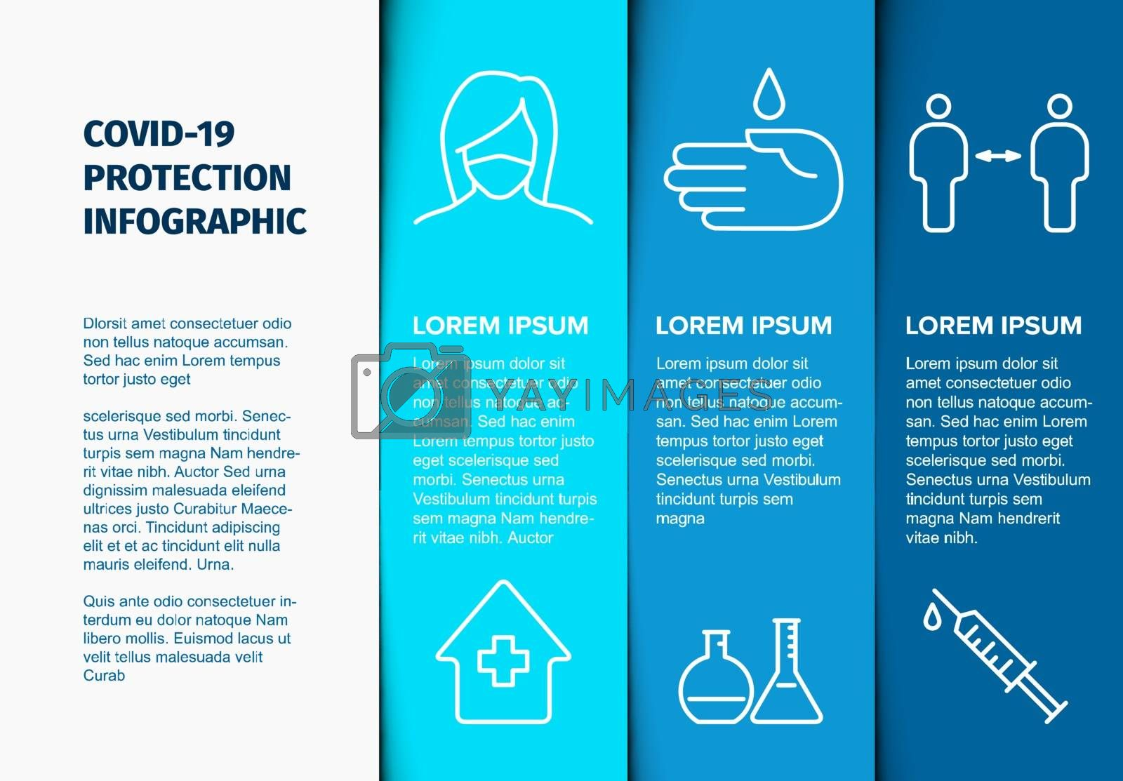 Covid-19 prevention infographic template - mask, people distance, washing hands, stay at home