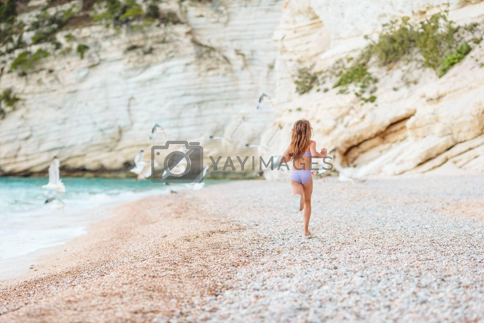 Little girl has fun on tropical beach running with gulls