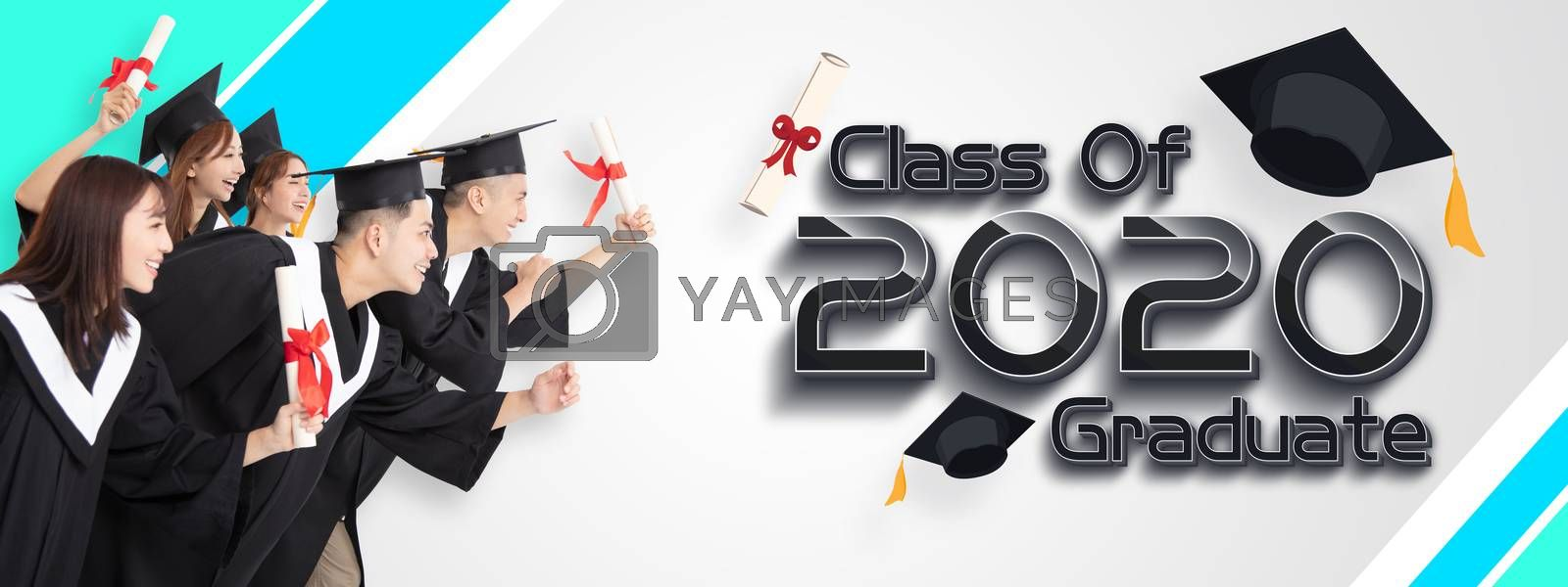 Group of Students Running and Celebrating Graduation 2020