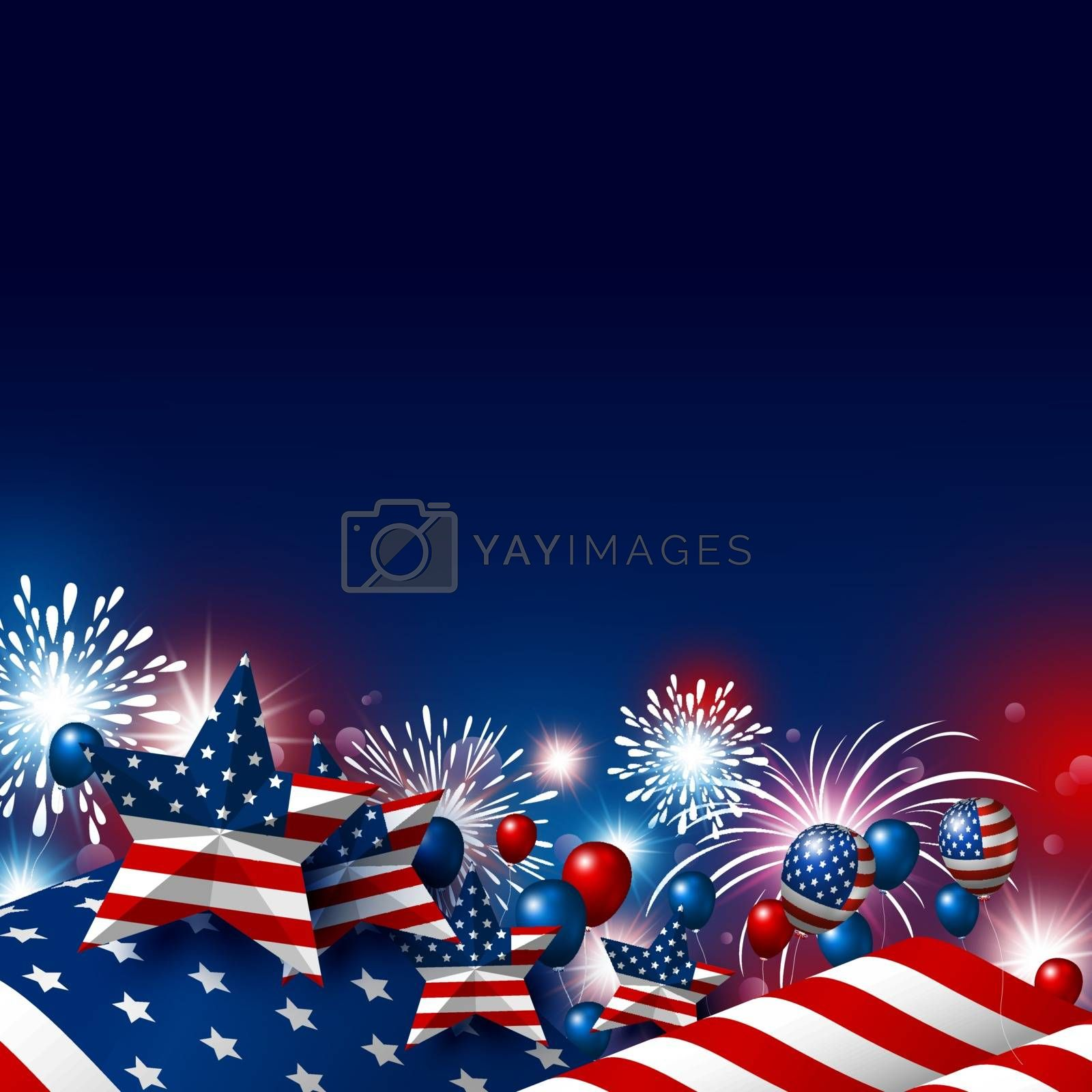 USA 4th of july happy independence day design of american flag with fireworks vector illustration