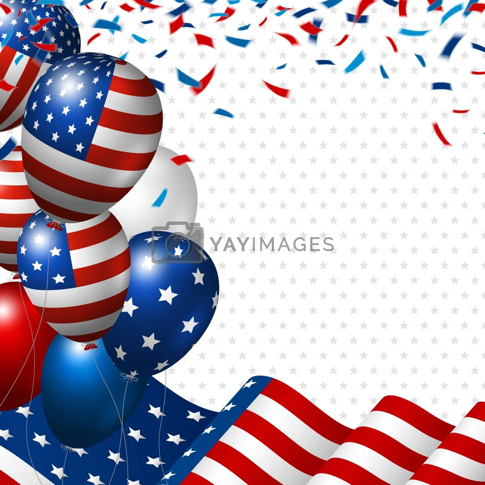 American flag and balloon with copy space banner USA 4th of july independence day vector illustration