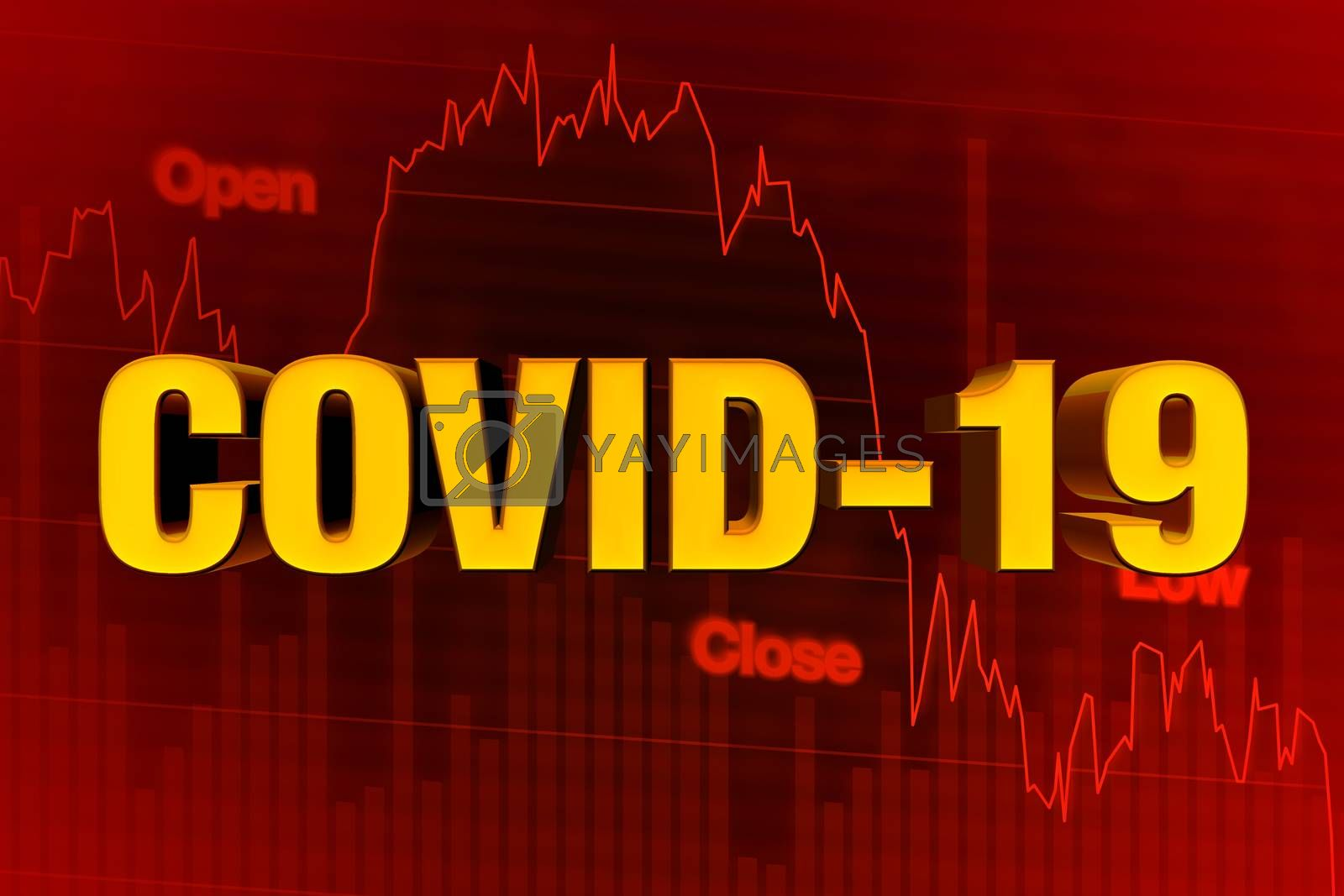 COVID-19 or COVID 19 Corona Virus Word on Chart of Falling Stock Market in Red