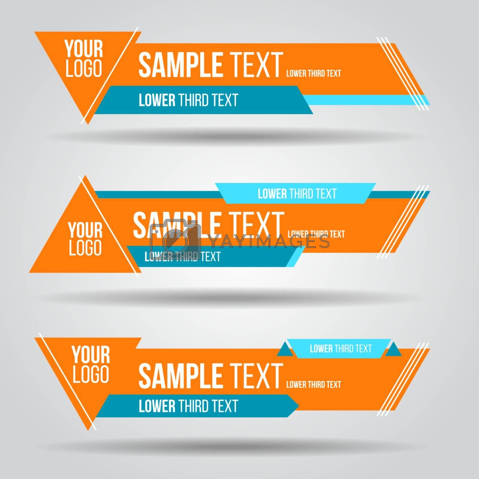 Lower third colorful tv design template modern contemporary. Set of banners bar screen broadcast bar name. Collection of lower third for video editing on transparent background.