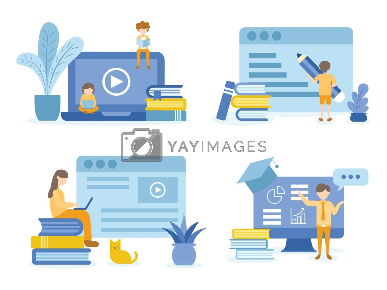 Student reading and learning online courses. Man training online courses. Concept Illustration of education for training, studying, e-learning, and online course.