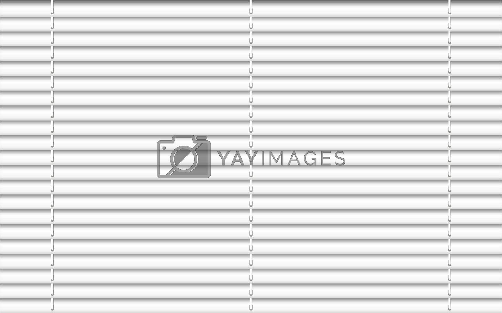 Horizontal window blind. White office interior blackout shade. Window shutter decor. Home interior design. Vector illustration. Background realistic window sunlight blinds closed. Office accessories blinds horizontal
