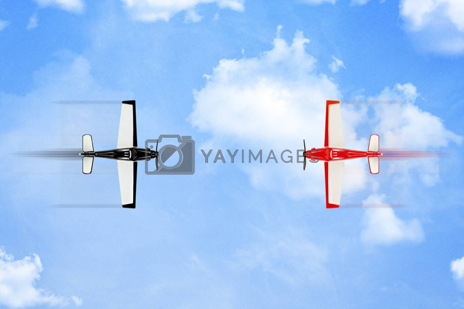 red plane about to  crash into black one on paper surface with clouds, rivalry concept